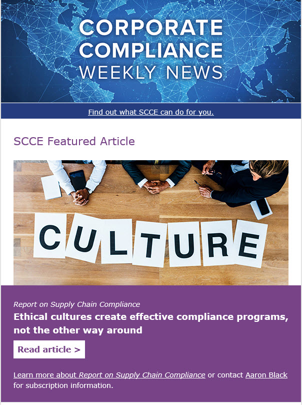 Corporate Compliance Weekly News- SCCE's weekly newsletter