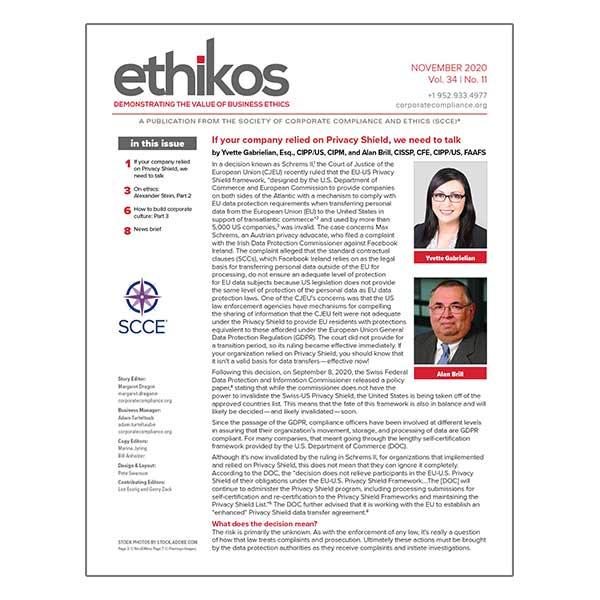November 2020 ethikos
